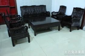 黑色实木沙发图片