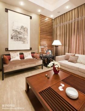 新中式客厅沙发挂画墙图片