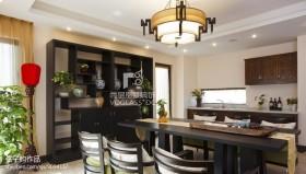 别墅餐厅厨房博古架效果图
