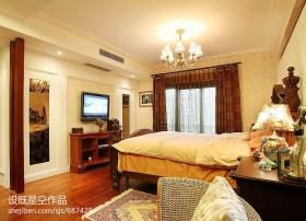 美式风格主卧室电视墙效果图