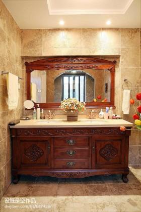 别墅卫生间洗手台柜子图片欣赏