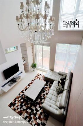 现代复式楼客厅吊顶水晶灯装修效果图