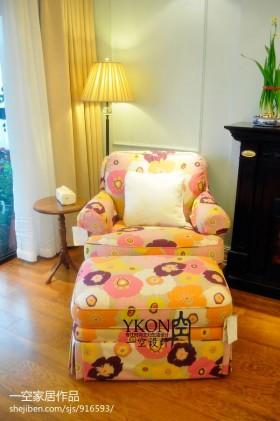 客厅单人布艺沙发效果图