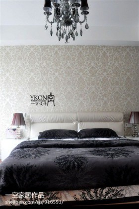 现代简约风格卧室床头背景墙效果图片