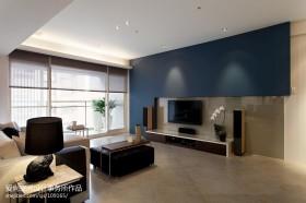 现代风格蓝色电视背景墙设计