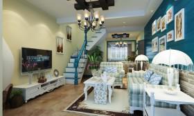 地中海风格小复式客厅电视背景墙效果图