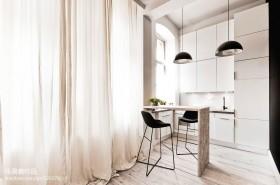北欧开放式小厨房吧台装修效果图