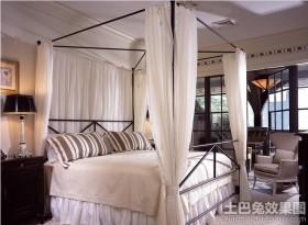 现代家庭主卧室折叠蚊帐图片