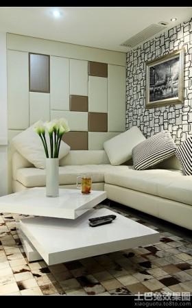 两房一厅客厅沙发软包皮背景墙效果图