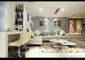 现代简约风格客厅沙发壁纸背景墙效果图
