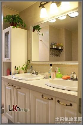 简约欧式主卫生间洗手台装修效果图
