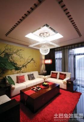 现代中式家装客厅吊顶效果图