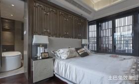 现代中式卧室装修效果图大全2013图片