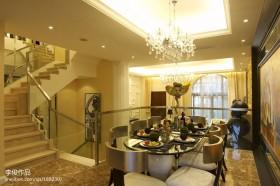 欧式别墅餐厅水晶灯吊顶效果图