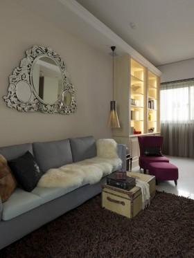 现代风格小户型客厅沙发地毯实景图片