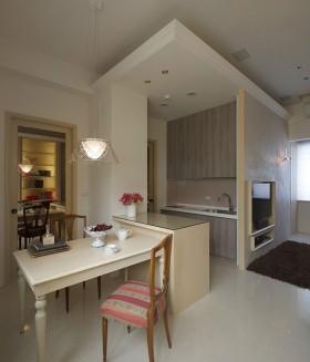 现代简约风格厨房小餐厅一体装修图片
