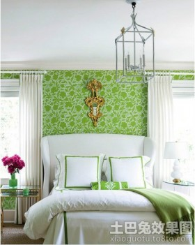 卧室复古小碎花背景图