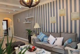 地中海风格客厅沙发墙装修效果图