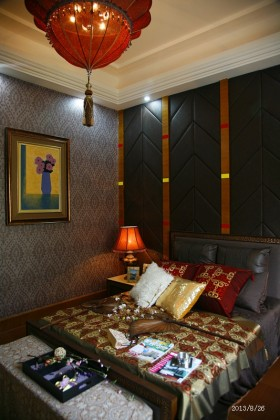 东南亚风格卧室壁纸背景墙效果图大全