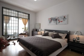 现代中式风格卧室效果图欣赏
