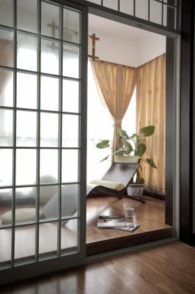 现代中式风格阳台窗帘效果图片