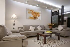 现代中式客厅布沙发背景墙效果图