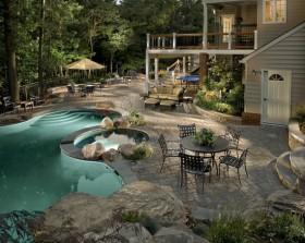 奢华别墅露天泳池装修效果图欣赏