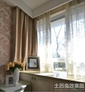 客厅拐角飘窗窗帘台面效果图
