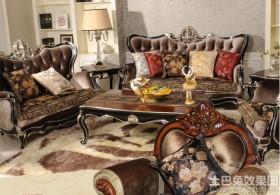 新古典风格真皮沙发坐垫