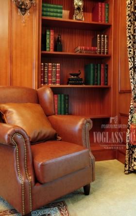 书房真皮单人休闲沙发效果图欣赏