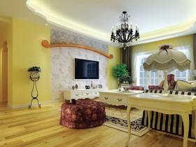 田园风格客厅电视背景墙壁纸装修效果图