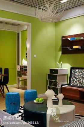 小户型客厅圆茶几墙装修效果图