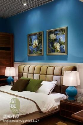 小户型蓝色卧室背景墙装修效果图