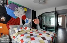带卫生间的卧室床头抽象画装修效果图