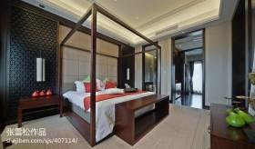 中式风格卧室床头软包背景墙装修效果图