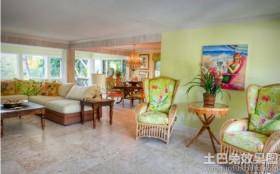 田园风格客厅木质花盆图片