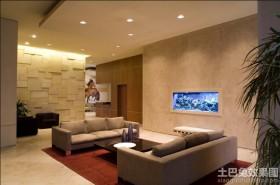 别墅客厅壁挂式鱼缸造景图片欣赏