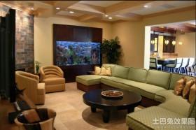 大客厅壁挂式鱼缸造景图片