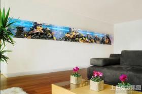 简约风格客厅壁挂式鱼缸造景图片