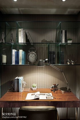 小书房玻璃书架装修效果图