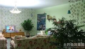 田园客厅家居植物摆放图片