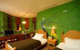 双人儿童房墙体彩绘效果图