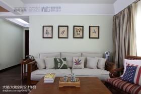 美式客厅布艺沙发背景墙效果图