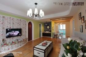 田园风格两室一厅客厅装修效果图欣赏