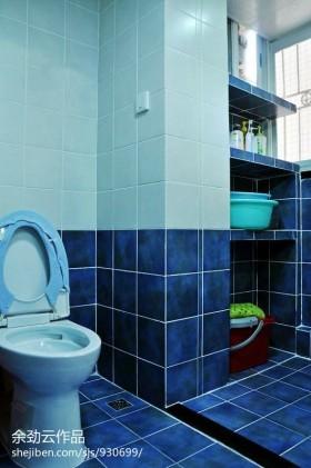 地中海风格卫生间蓝色瓷砖效果图