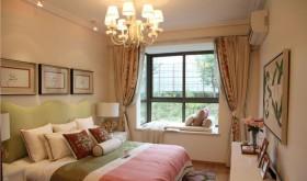 田园风格卧室飘窗窗帘装修效果图欣赏