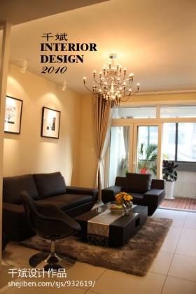 现代简约风格客厅真皮沙发背景墙装修图片