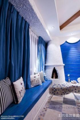 地中海风格飘窗蓝色窗帘贴图