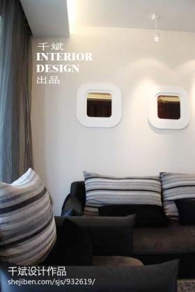 现代简约客厅转角布艺沙发效果图