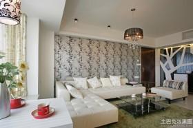 家庭客厅装修现代墙纸贴图